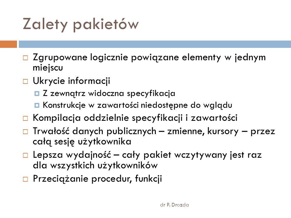 Elementy deklaracji pakietów dr P.
