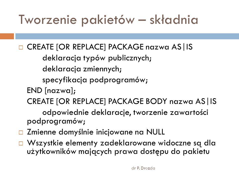 Tworzenie pakietów – składnia dr P.