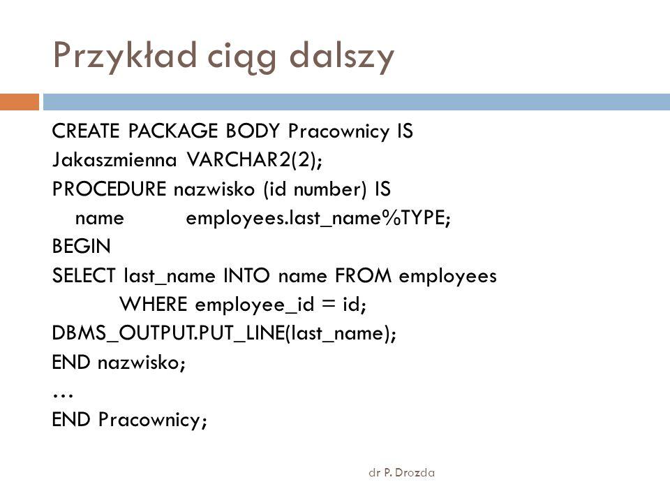 Przykład pakietu bez zawartości dr P.