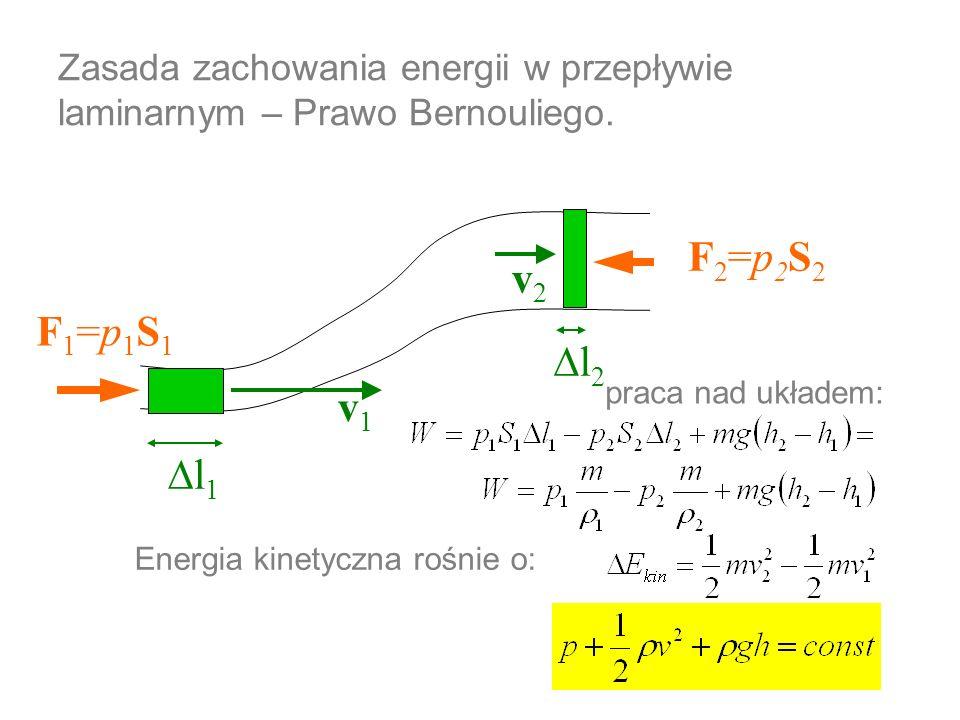 Zasada zachowania energii w przepływie laminarnym – Prawo Bernouliego. v1v1 v2v2 F1=p1S1F1=p1S1 F2=p2S2F2=p2S2 l 1 l 2 praca nad układem: Energia kine