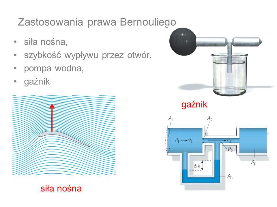 Zastosowania prawa Bernouliego siła nośna, szybkość wypływu przez otwór, pompa wodna, gaźnik siła nośna gaźnik