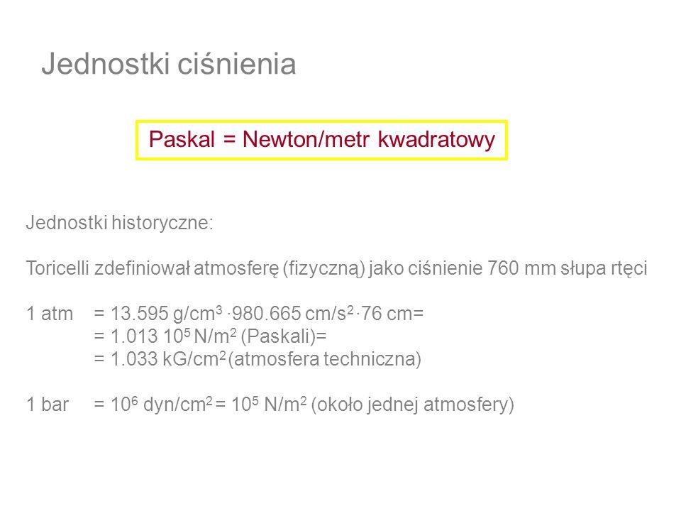 Jednostki ciśnienia Paskal = Newton/metr kwadratowy Jednostki historyczne: Toricelli zdefiniował atmosferę (fizyczną) jako ciśnienie 760 mm słupa rtęc