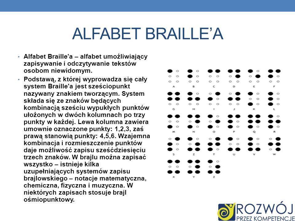ALFABET BRAILLEA Alfabet Braille a – alfabet umożliwiający zapisywanie i odczytywanie tekstów osobom niewidomym.
