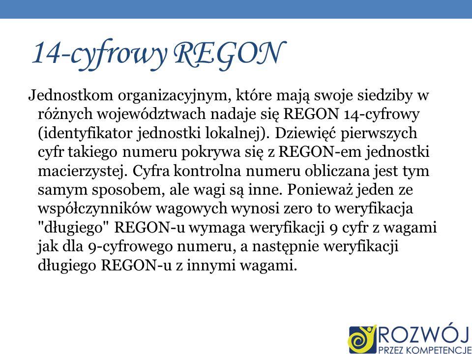 14-cyfrowy REGON Jednostkom organizacyjnym, które mają swoje siedziby w różnych województwach nadaje się REGON 14-cyfrowy (identyfikator jednostki lokalnej).