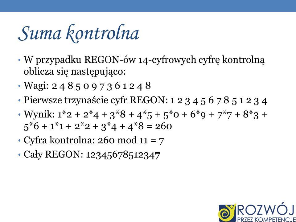 Suma kontrolna W przypadku REGON-ów 14-cyfrowych cyfrę kontrolną oblicza się następująco: Wagi: 2 4 8 5 0 9 7 3 6 1 2 4 8 Pierwsze trzynaście cyfr REGON: 1 2 3 4 5 6 7 8 5 1 2 3 4 Wynik: 1*2 + 2*4 + 3*8 + 4*5 + 5*0 + 6*9 + 7*7 + 8*3 + 5*6 + 1*1 + 2*2 + 3*4 + 4*8 = 260 Cyfra kontrolna: 260 mod 11 = 7 Cały REGON: 12345678512347
