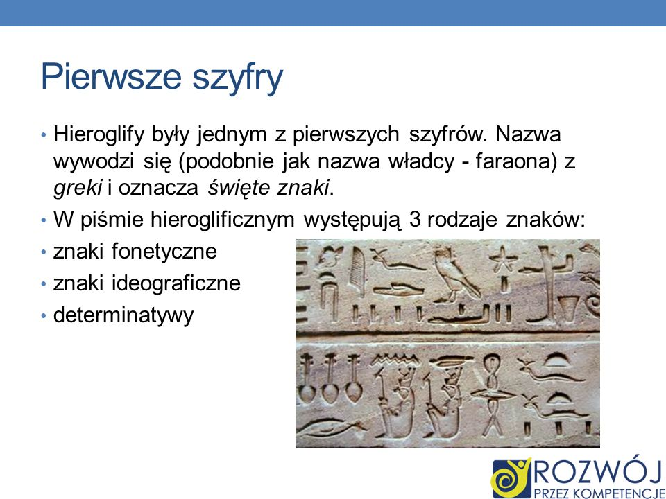 Pierwsze szyfry Hieroglify były jednym z pierwszych szyfrów.