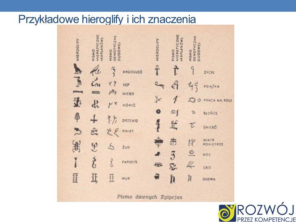 Przykładowe hieroglify i ich znaczenia