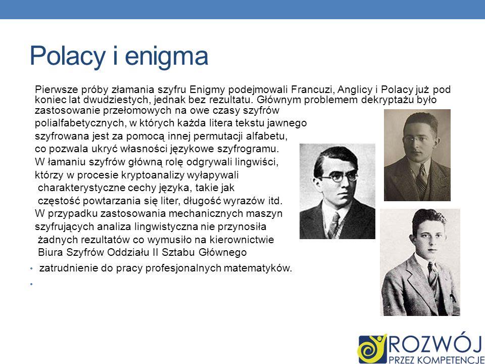 Polacy i enigma Pierwsze próby złamania szyfru Enigmy podejmowali Francuzi, Anglicy i Polacy już pod koniec lat dwudziestych, jednak bez rezultatu.