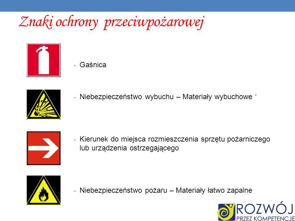 Znaki ochrony przeciwpożarowej - Gaśnica - Niebezpieczeństwo wybuchu – Materiały wybuchowe - Kierunek do miejsca rozmieszczenia sprzętu pożarniczego lub urządzenia ostrzegającego - Niebezpieczeństwo pożaru – Materiały łatwo zapalne