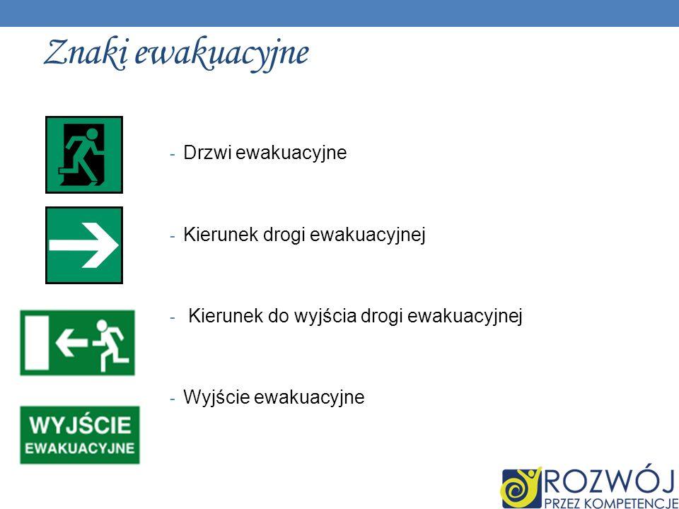 Znaki ewakuacyjne - Drzwi ewakuacyjne - Kierunek drogi ewakuacyjnej - Kierunek do wyjścia drogi ewakuacyjnej - Wyjście ewakuacyjne