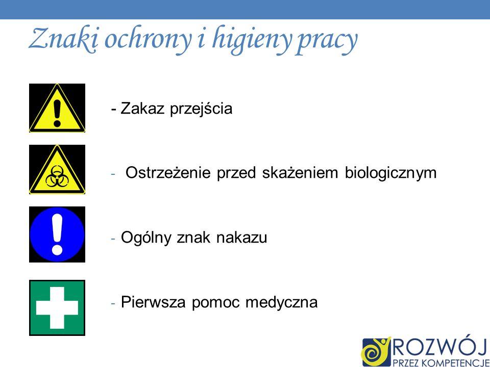 Znaki ochrony i higieny pracy - Zakaz przejścia - Ostrzeżenie przed skażeniem biologicznym - Ogólny znak nakazu - Pierwsza pomoc medyczna