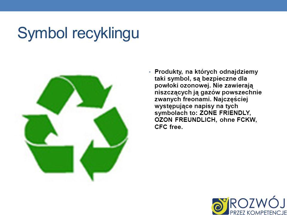 Symbol recyklingu Produkty, na których odnajdziemy taki symbol, są bezpieczne dla powłoki ozonowej.