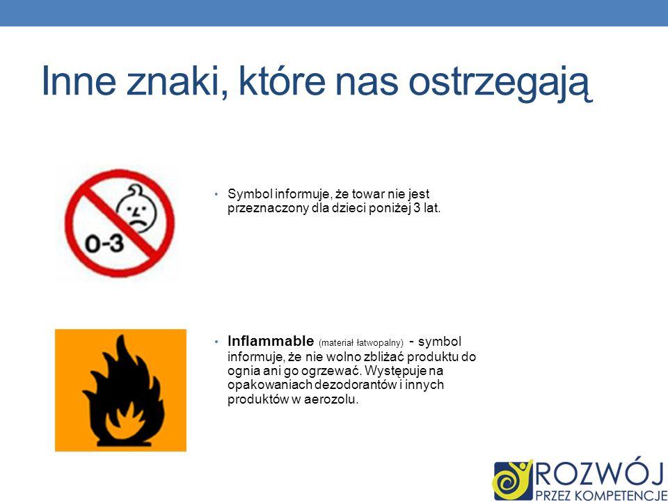 Inne znaki, które nas ostrzegają Symbol informuje, że towar nie jest przeznaczony dla dzieci poniżej 3 lat.