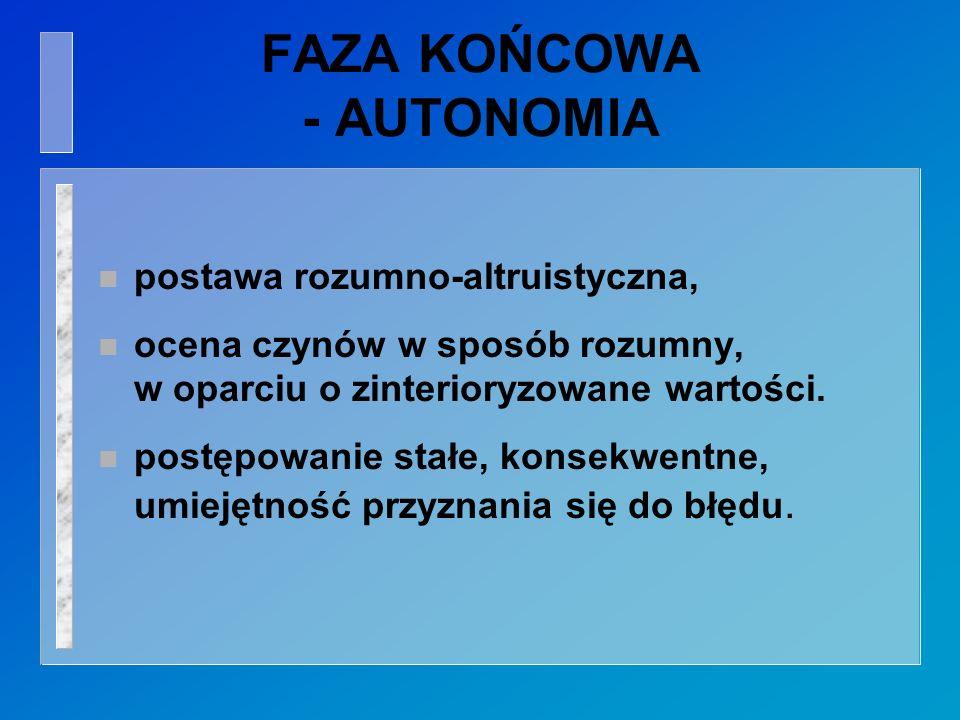 FAZA KOŃCOWA - AUTONOMIA n postawa rozumno-altruistyczna, n ocena czynów w sposób rozumny, w oparciu o zinterioryzowane wartości.