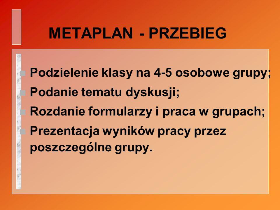 METAPLAN - PRZEBIEG n Podzielenie klasy na 4-5 osobowe grupy; n Podanie tematu dyskusji; n Rozdanie formularzy i praca w grupach; n Prezentacja wyników pracy przez poszczególne grupy.