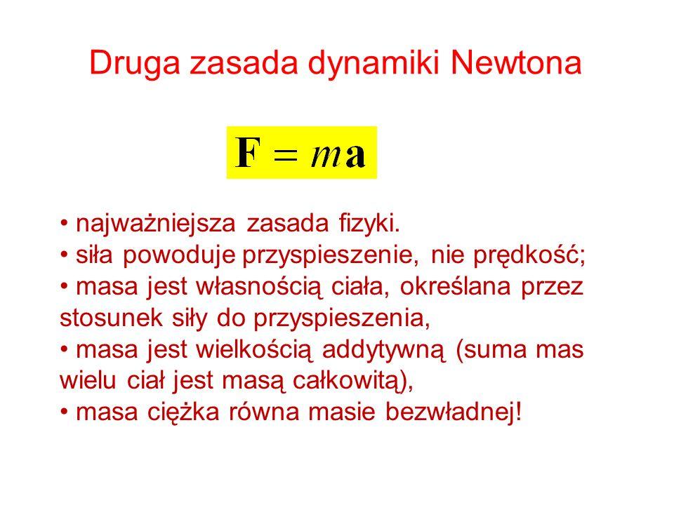 Druga zasada dynamiki Newtona najważniejsza zasada fizyki. siła powoduje przyspieszenie, nie prędkość; masa jest własnością ciała, określana przez sto