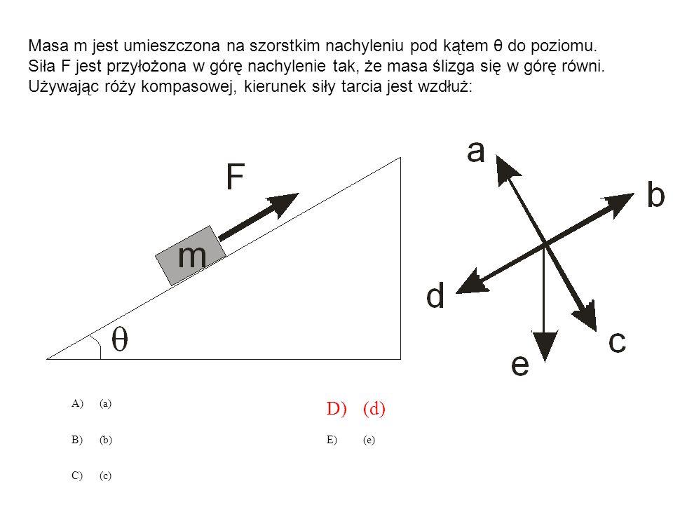 A)(a) D)(d) B)(b)E)(e) C)(c) Masa m jest umieszczona na szorstkim nachyleniu pod kątem θ do poziomu. Siła F jest przyłożona w górę nachylenie tak, że