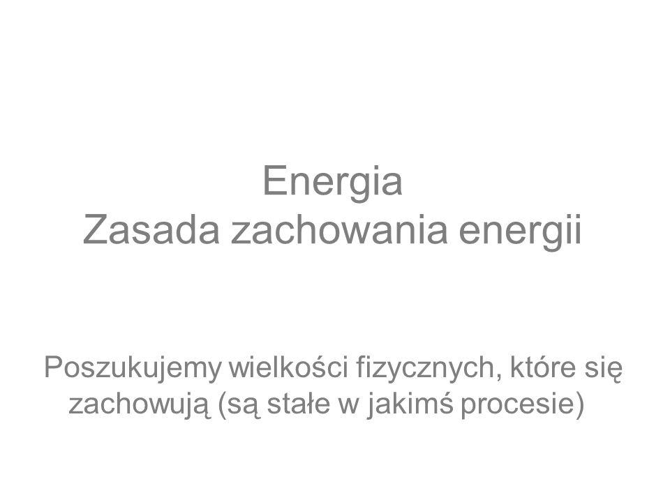 Energia Zasada zachowania energii Poszukujemy wielkości fizycznych, które się zachowują (są stałe w jakimś procesie)