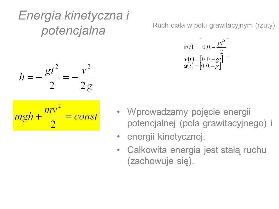Energia kinetyczna i potencjalna Wprowadzamy pojęcie energii potencjalnej (pola grawitacyjnego) i energii kinetycznej. Całkowita energia jest stałą ru