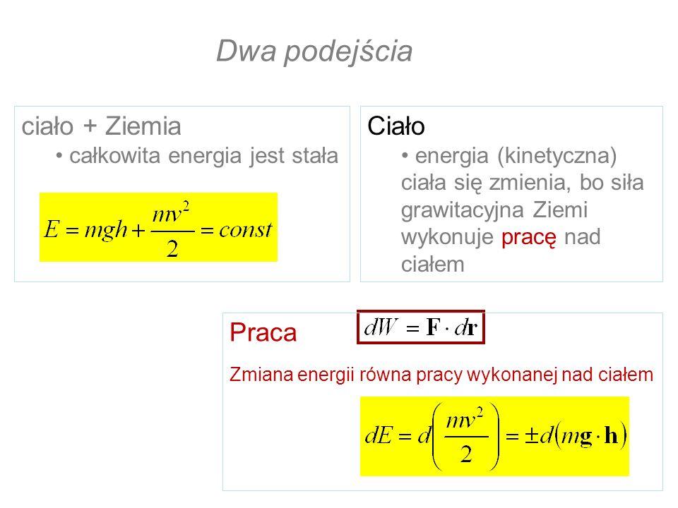 Dwa podejścia ciało + Ziemia całkowita energia jest stała Ciało energia (kinetyczna) ciała się zmienia, bo siła grawitacyjna Ziemi wykonuje pracę nad
