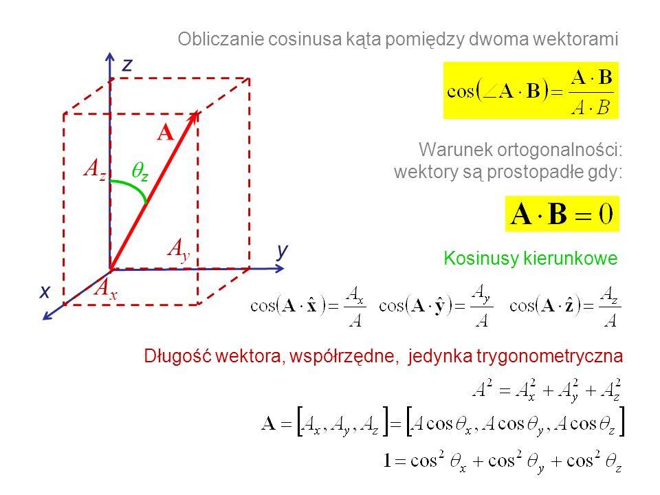 Warunek ortogonalności: wektory są prostopadłe gdy: Obliczanie cosinusa kąta pomiędzy dwoma wektorami Kosinusy kierunkowe Długość wektora, współrzędne