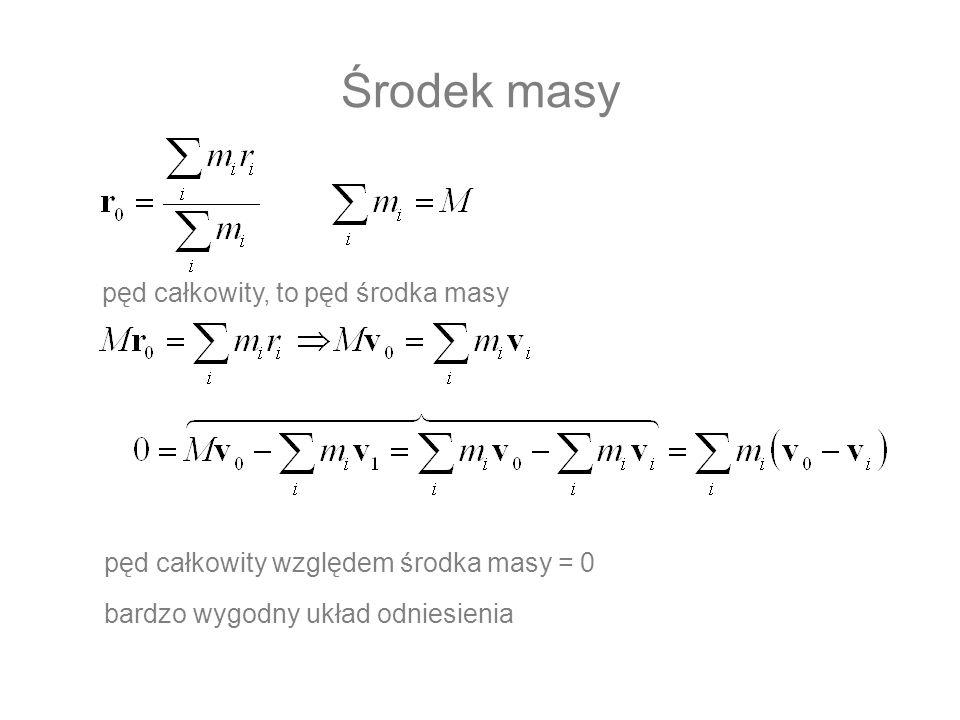 Środek masy pęd całkowity względem środka masy = 0 bardzo wygodny układ odniesienia pęd całkowity, to pęd środka masy
