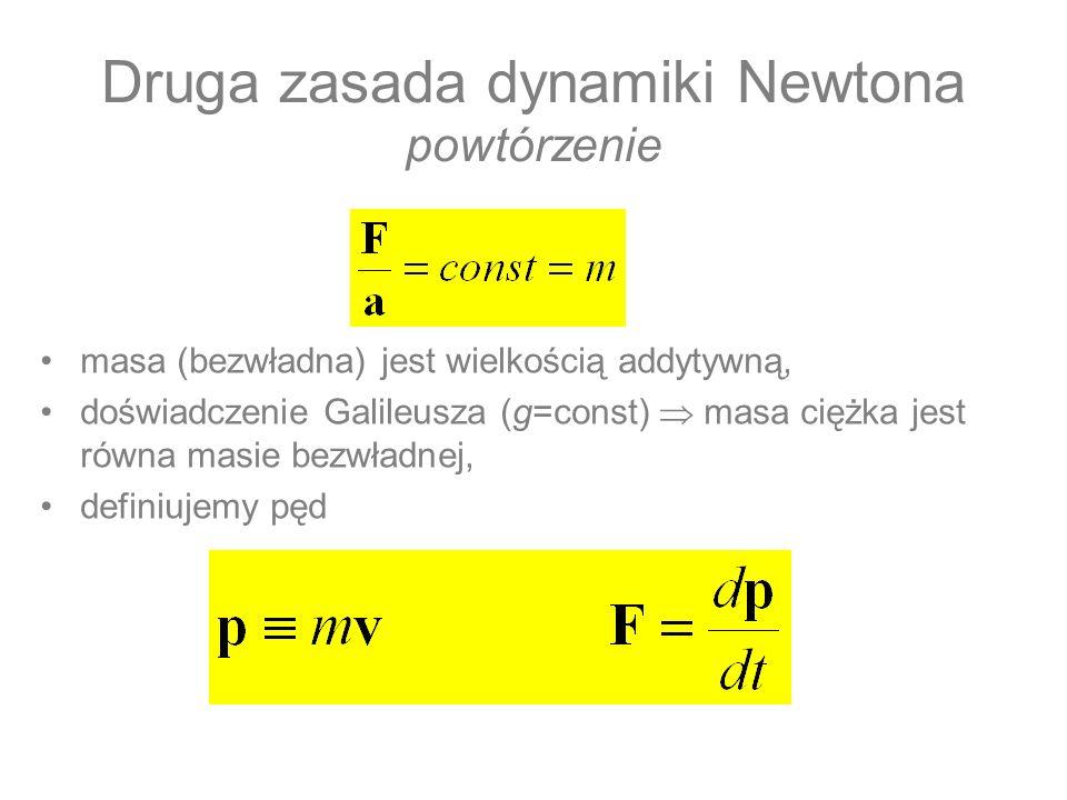 Druga zasada dynamiki Newtona powtórzenie masa (bezwładna) jest wielkością addytywną, doświadczenie Galileusza (g=const) masa ciężka jest równa masie