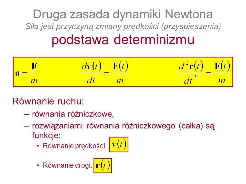 Druga zasada dynamiki Newtona Siła jest przyczyną zmiany prędkości (przyspieszenia) podstawa determinizmu Równanie ruchu: –równania różniczkowe, –rozw
