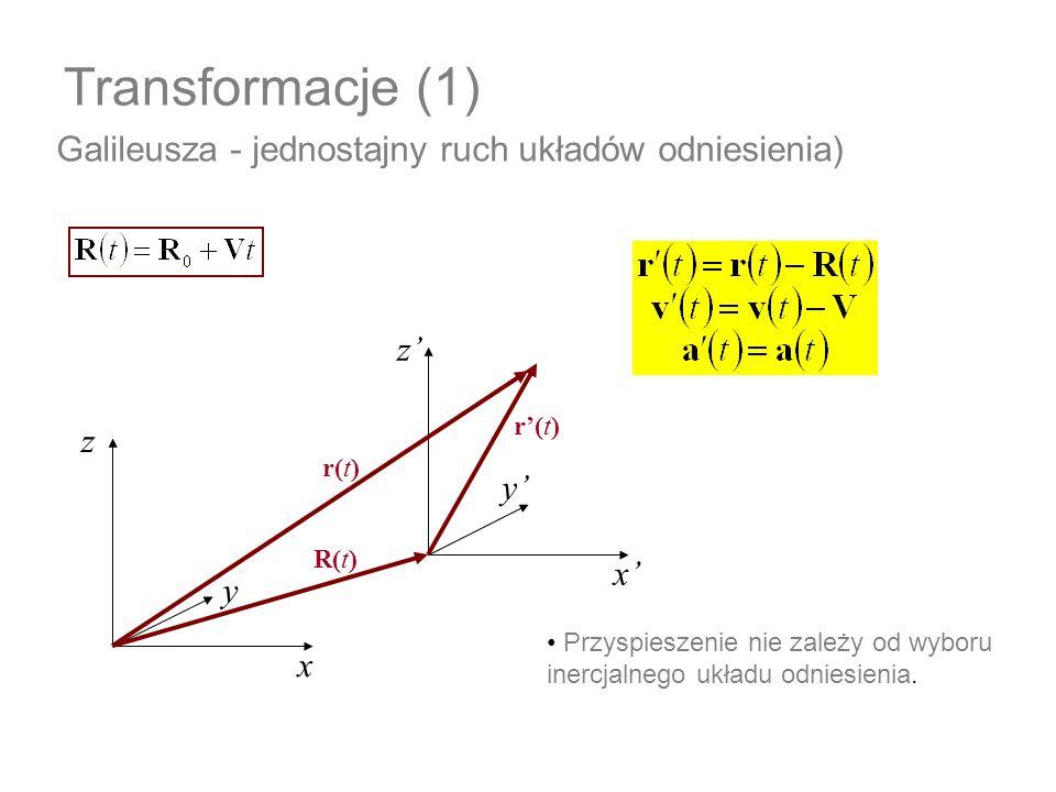 Transformacje (1) Galileusza - jednostajny ruch układów odniesienia) Przyspieszenie nie zależy od wyboru inercjalnego układu odniesienia. x z y x z y