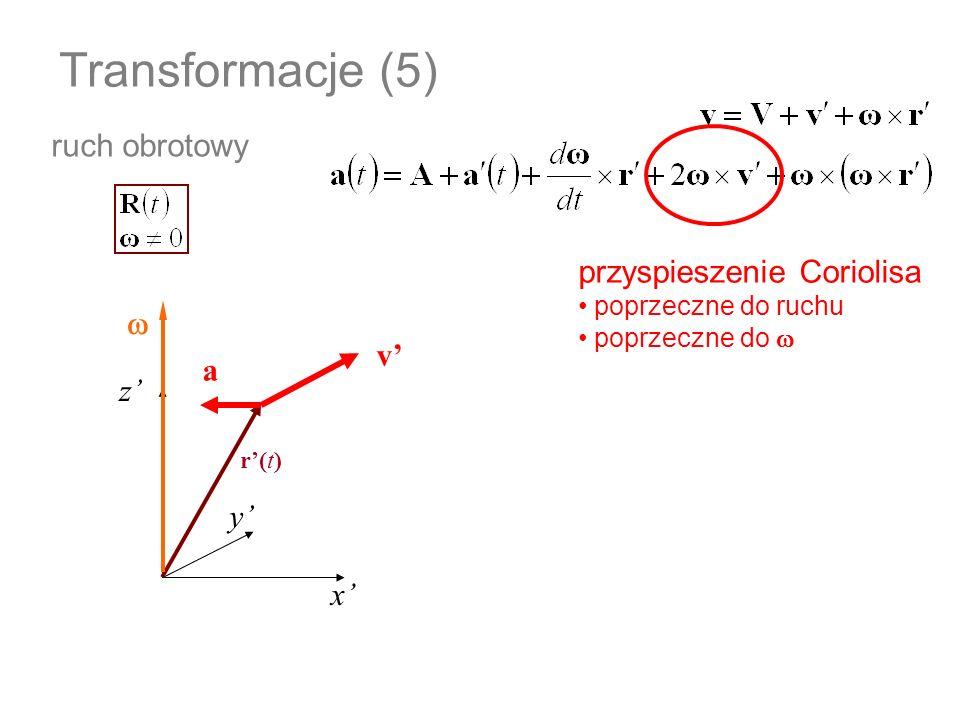 Transformacje (5) ruch obrotowy x z y r(t) przyspieszenie Coriolisa poprzeczne do ruchu poprzeczne do v a