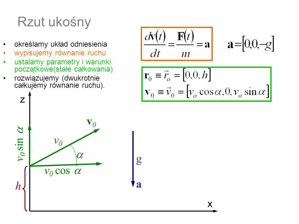 Rzut ukośny równanie prędkości równanie ruchu warunki początkowe Całka (nieoznaczona, ogólna) równania ruchu warunki początkowe wyznaczają stałe całkowania z x h v0v0 v 0 cos v 0 sin v 0 =50 m/s a g=10 m/s 2 =36.87