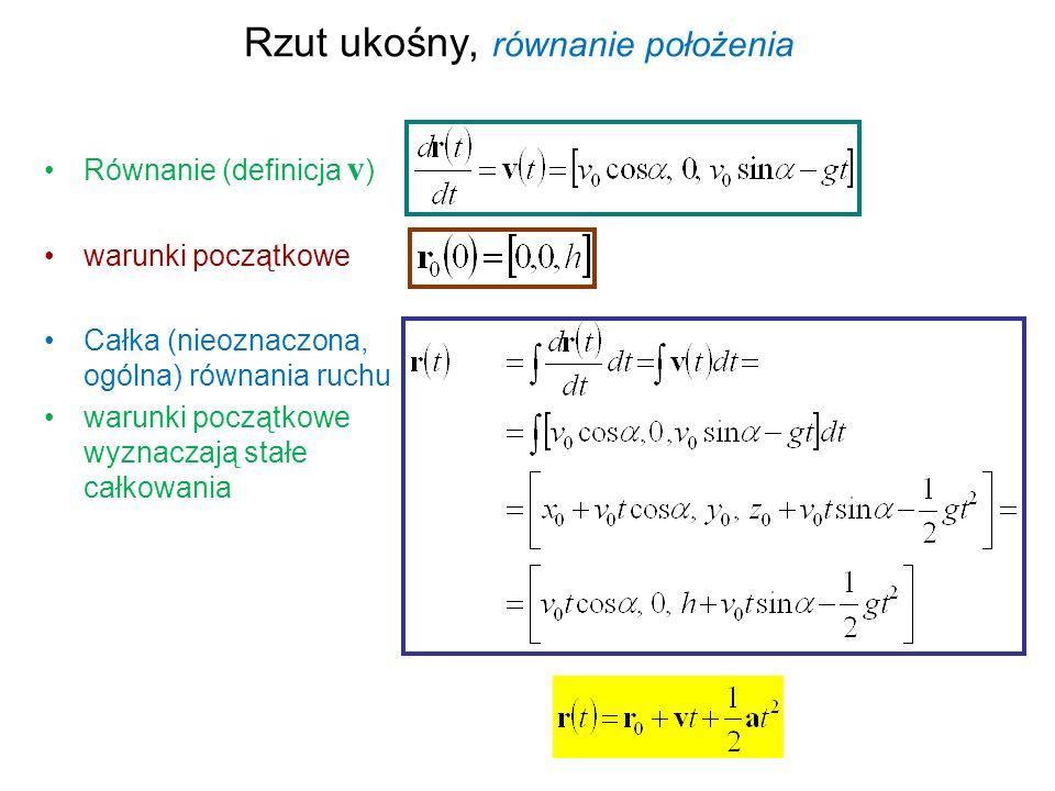 Rzut ukośny, równanie położenia Równanie (definicja v ) warunki początkowe Całka (nieoznaczona, ogólna) równania ruchu warunki początkowe wyznaczają s