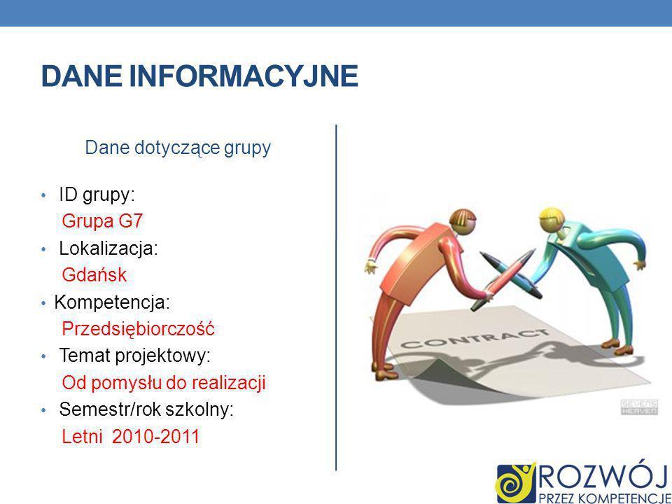 DANE INFORMACYJNE Dane dotyczące grupy ID grupy: Grupa G7 Lokalizacja: Gdańsk Kompetencja: Przedsiębiorczość Temat projektowy: Od pomysłu do realizacji Semestr/rok szkolny: Letni 2010-2011