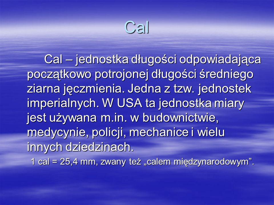Cal Cal – jednostka długości odpowiadająca początkowo potrojonej długości średniego ziarna jęczmienia. Jedna z tzw. jednostek imperialnych. W USA ta j