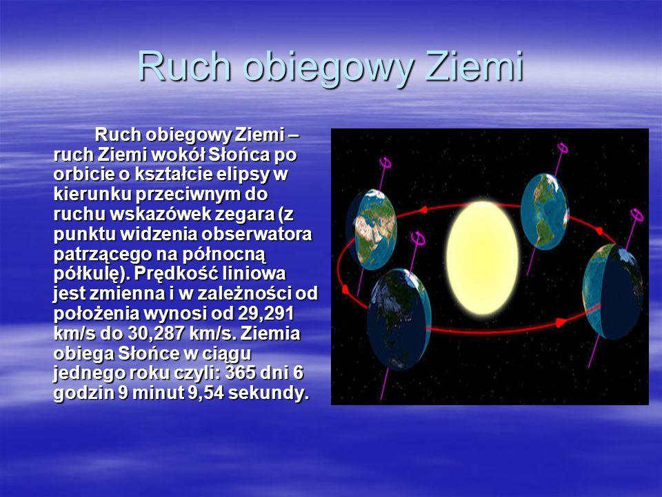 Ruch obiegowy Ziemi Ruch obiegowy Ziemi – ruch Ziemi wokół Słońca po orbicie o kształcie elipsy w kierunku przeciwnym do ruchu wskazówek zegara (z pun