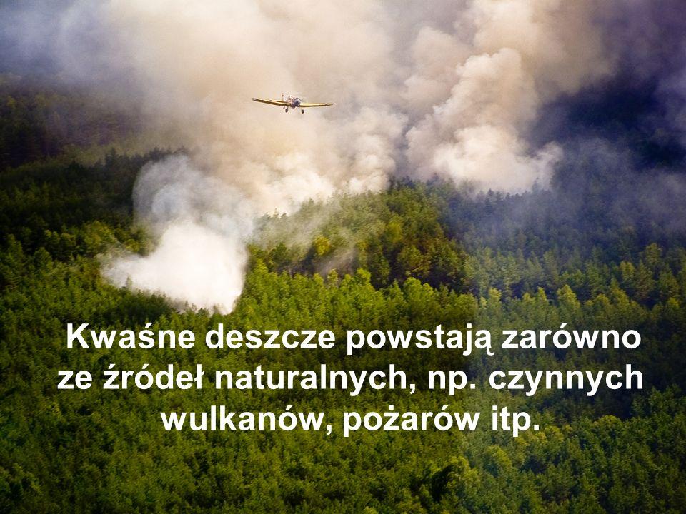 Kwaśne deszcze powstają zarówno ze źródeł naturalnych, np. czynnych wulkanów, pożarów itp.