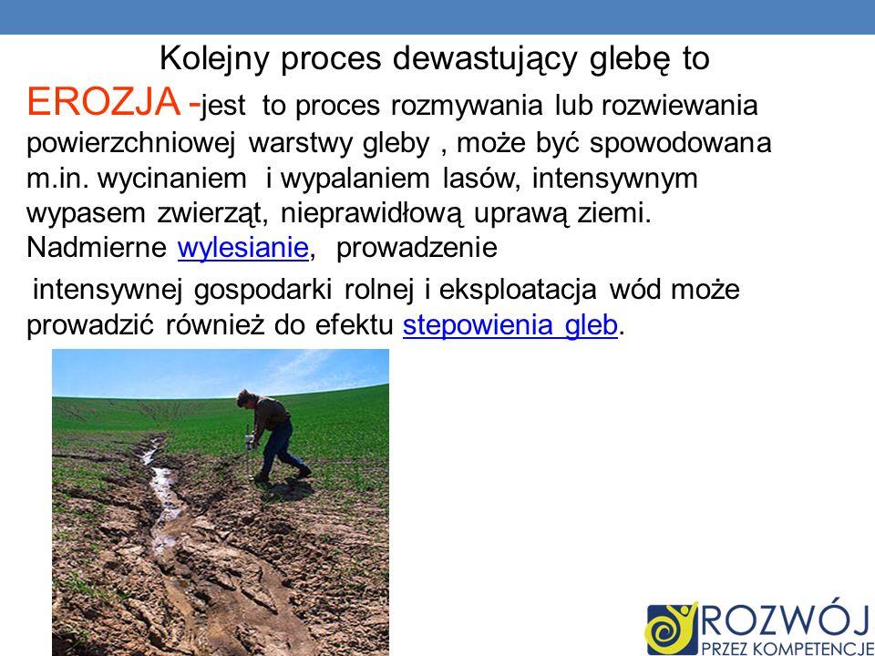 Kolejny proces dewastujący glebę to EROZJA - jest to proces rozmywania lub rozwiewania powierzchniowej warstwy gleby, może być spowodowana m.in. wycin