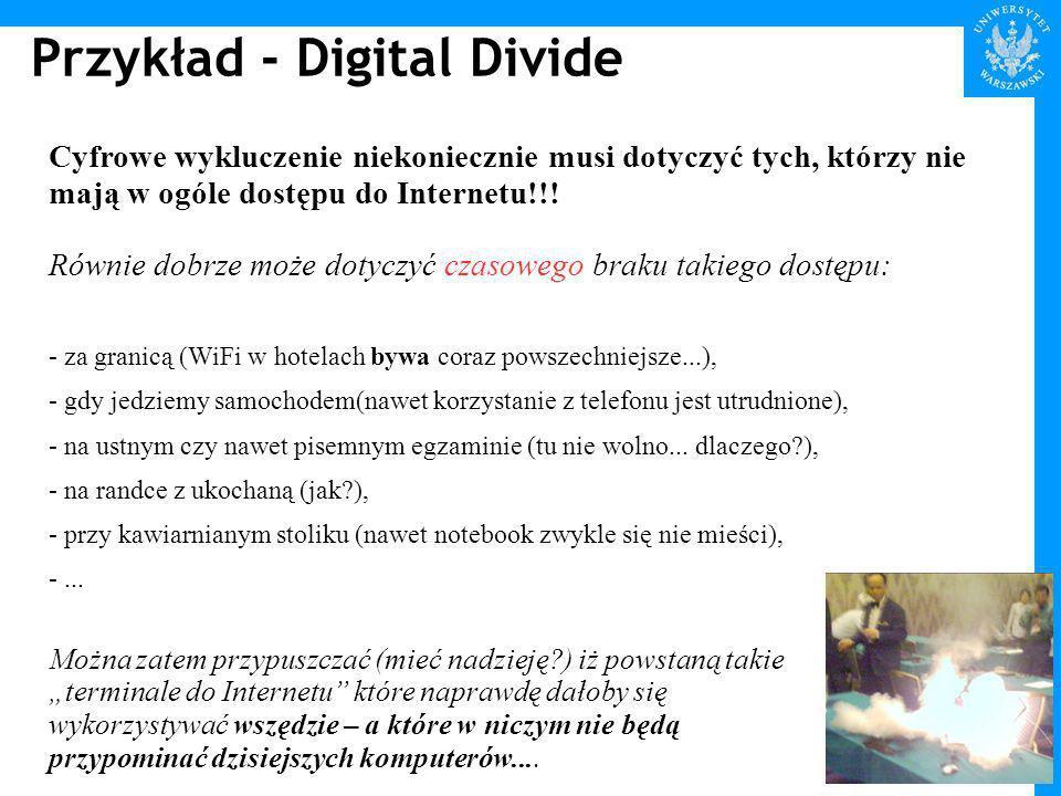 Przykład - Digital Divide Cyfrowe wykluczenie niekoniecznie musi dotyczyć tych, którzy nie mają w ogóle dostępu do Internetu!!.