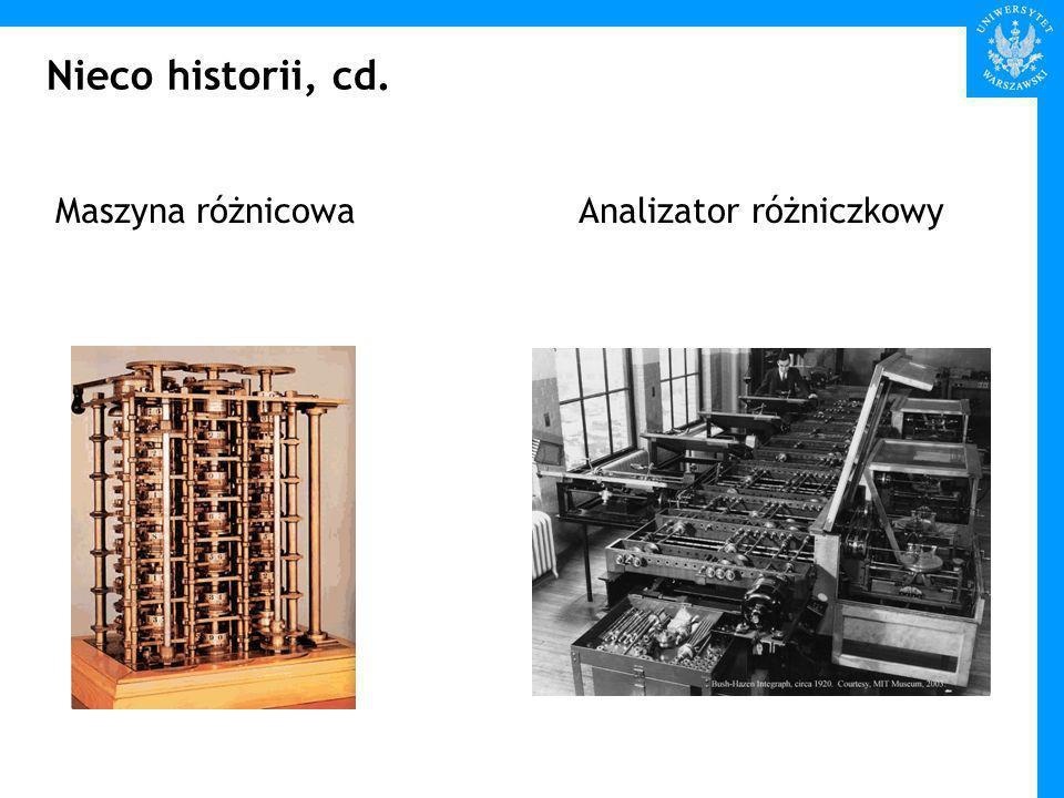 Nieco historii, cd. Maszyna różnicowaAnalizator różniczkowy