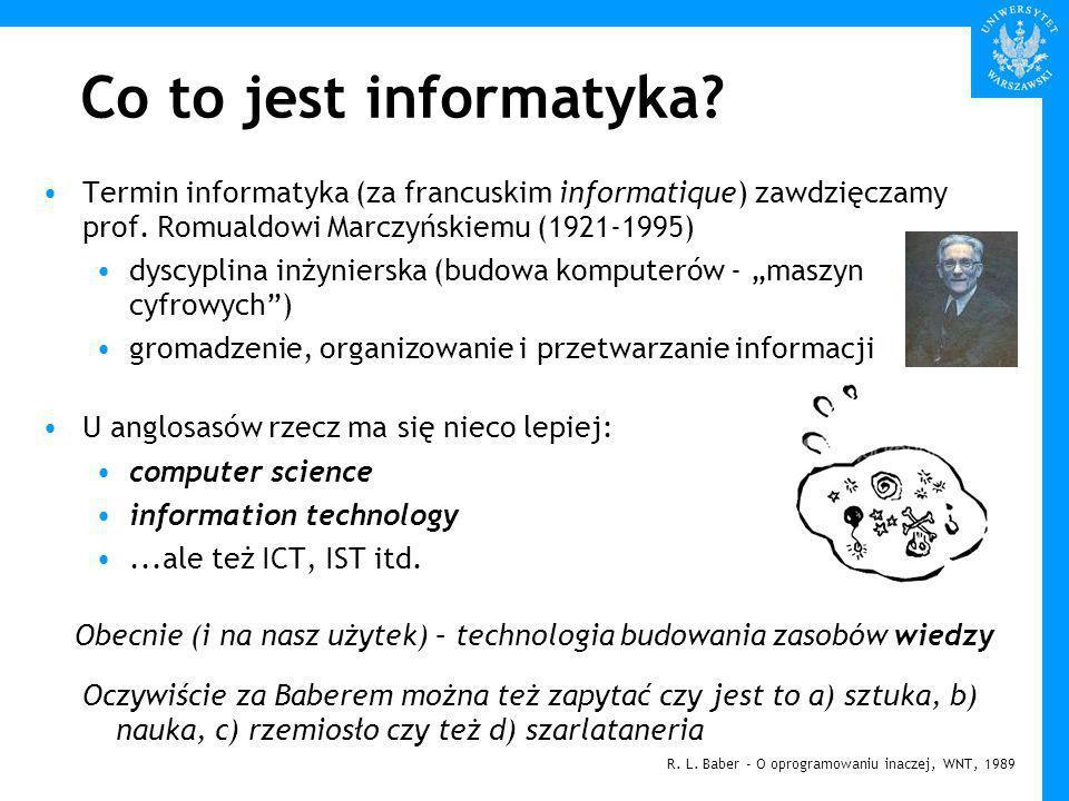 Co to jest informatyka.Termin informatyka (za francuskim informatique) zawdzięczamy prof.