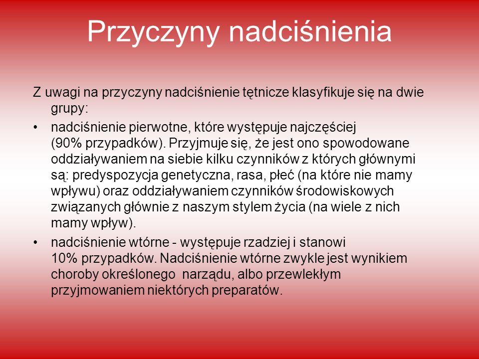 Przyczyny nadciśnienia Z uwagi na przyczyny nadciśnienie tętnicze klasyfikuje się na dwie grupy: nadciśnienie pierwotne, które występuje najczęściej (