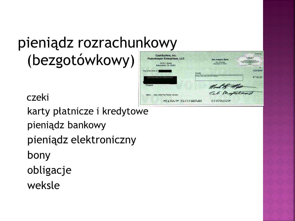 pieniądz rozrachunkowy (bezgotówkowy) czeki karty płatnicze i kredytowe pieniądz bankowy pieniądz elektroniczny bony obligacje weksle