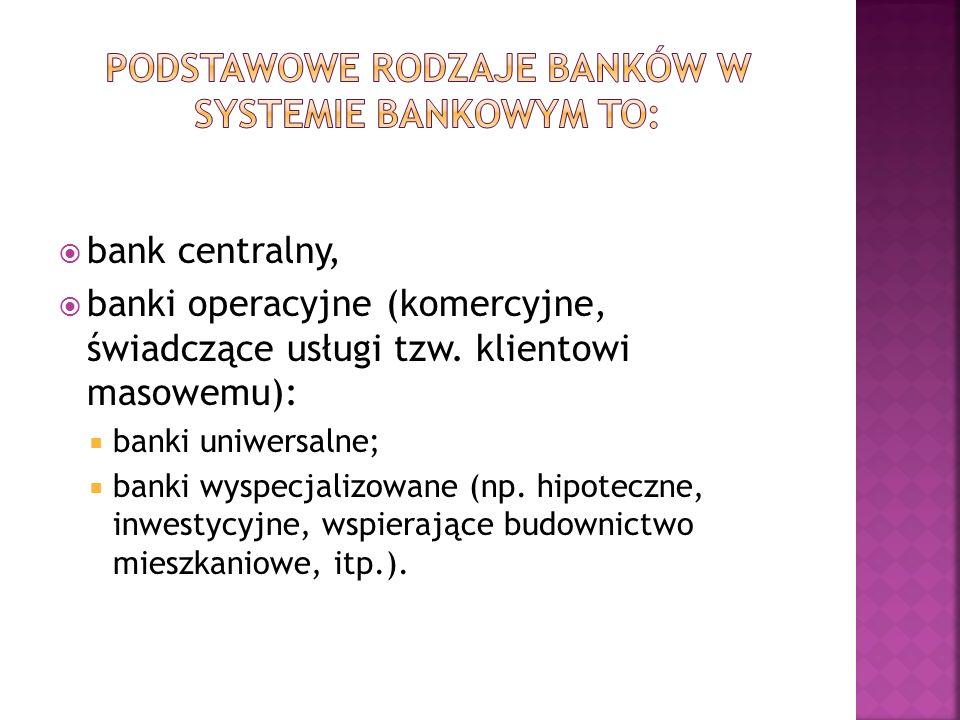 bank centralny, banki operacyjne (komercyjne, świadczące usługi tzw. klientowi masowemu): banki uniwersalne; banki wyspecjalizowane (np. hipoteczne, i