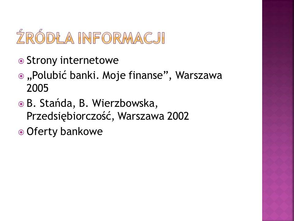 Strony internetowe Polubić banki. Moje finanse, Warszawa 2005 B. Stańda, B. Wierzbowska, Przedsiębiorczość, Warszawa 2002 Oferty bankowe
