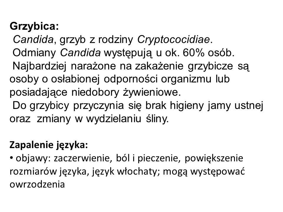 Grzybica: Candida, grzyb z rodziny Cryptococidiae. Odmiany Candida występują u ok. 60% osób. Najbardziej narażone na zakażenie grzybicze są osoby o os