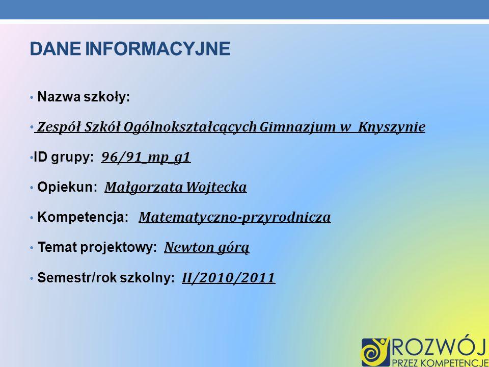 DANE INFORMACYJNE Nazwa szkoły: Zespół Szkół Ogólnokształcących Gimnazjum w Knyszynie ID grupy: 96/91_mp_g1 Opiekun: Małgorzata Wojtecka Kompetencja: