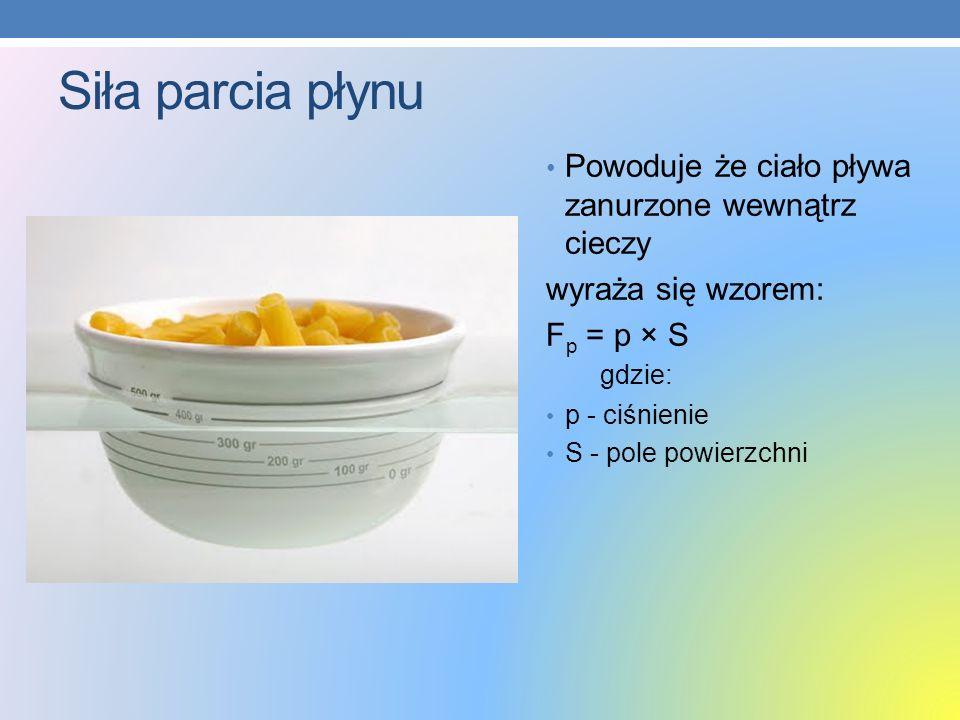 Siła parcia płynu Powoduje że ciało pływa zanurzone wewnątrz cieczy wyraża się wzorem: F p = p × S gdzie: p - ciśnienie S - pole powierzchni