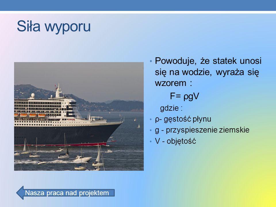 Siła wyporu Powoduje, że statek unosi się na wodzie, wyraża się wzorem : F= ρgV gdzie : ρ- gęstość płynu g - przyspieszenie ziemskie V - objętość Nasz