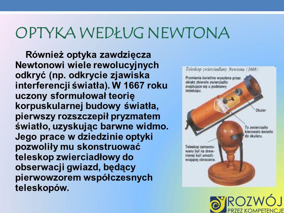 OPTYKA WEDŁUG NEWTONA Również optyka zawdzięcza Newtonowi wiele rewolucyjnych odkryć (np. odkrycie zjawiska interferencji światła). W 1667 roku uczony