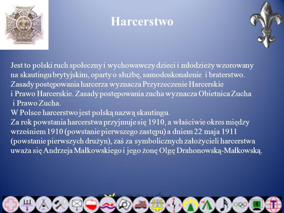 Harcerstwo Jest to polski ruch społeczny i wychowawczy dzieci i młodzieży wzorowany na skautingu brytyjskim, oparty o służbę, samodoskonalenie i brate